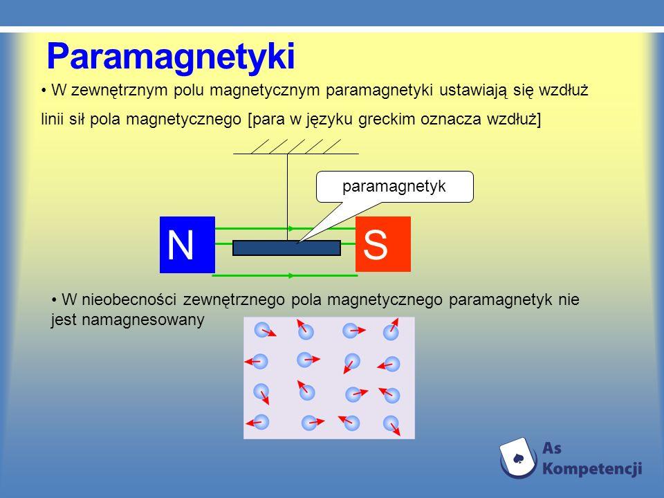 Paramagnetyki W zewnętrznym polu magnetycznym paramagnetyki ustawiają się wzdłuż linii sił pola magnetycznego [para w języku greckim oznacza wzdłuż]